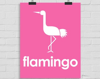 Flamingo Wall Art, Nursery Wall Art, Flamingo Wall Print, Kids Wall Art, Playroom Art, Childrens Art, Modern Nursery Print, Printable Art