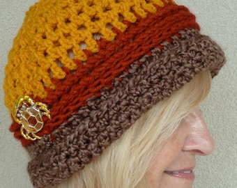 Women's winter hat in brown, rust and autumn gold, original crochet hat with style and class, crab pin is attached, super comfortable