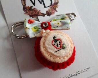 Strawberry Fields Wearable Art Time Keeper Kilt Pin by Winnifreds Daughter