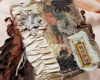 """Vintage style Junk Journal, Distressed, re-purposed vintage book, 5.75 x 4.25 x 1.75/ """"Soar"""""""
