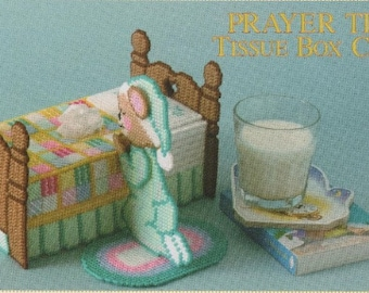 Prayer Time Bear Kleenex Box Cover  / Teddy Bear Tissue / Vintage  7 Ct Plastic Canvas Pattern / Digital Download Pattern