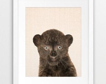 Panther Print, Nursery Animal Wall Art, Cute Animal Photo, Baby Panther Print, Nursery Decor, Baby Animal, Kids Room Art,  Printable Art