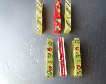 set of 6 clothespins in color lime green, red and white patterned party with sequins, glitter table, photo or DIY