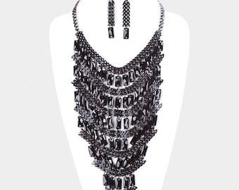 Wide Chain Rectangle Layered Statement Bib Necklace
