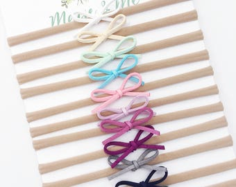 Suede Hand Tied Hair Bows / Baby Bows / White, Cream, Pink, Mint, Blue, Purple, Black, Navy, Grey / Macie and Me