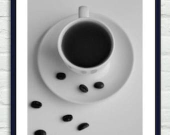 Coffee art print, coffee shop decor, black and white coffee photography, kitchen picture, coffee wall decor coffee lovers gift, vertical art