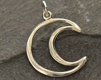 Sterling Silver, Wire Crescent Moon, Half Moon Charm, Astrological Charm, Moon Charm, Moon Jewelry, Celestial Charm, Silver Moon Jewelry