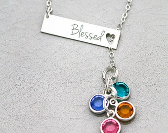 Blessed Necklace Grandma Blessed Mom Necklace • Birthstone Crystal Bar Necklace Mother's Day Gift • Mommy Necklace Blessed Christian Mom