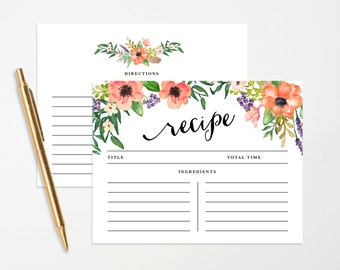 Instant Download - Boho Recipe Cards