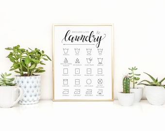 Endless Love & Laundry Art Print, Laundry Symbol Guide Print, Laundry Room Decor, digital File Download