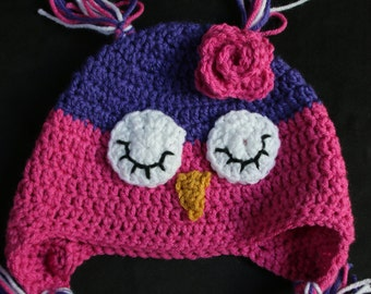 Pink and Purple Sleepy Flowered Owl Hat, Crochet Child's Hat, Crochet  Photo Prop, Sleepy Owl Ear Flap Hat, Hat For Child, Owl Hat, Pink Hat