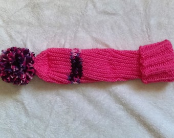 Hand Knit Golf Club Cozy in Pink/Berry