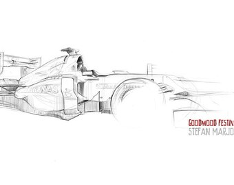 Mercedes F1 Car - Original A3 Pencil Sketch