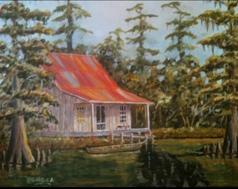Cajun Camp in Cypress Swamp, Father's Day gift, Louisiana art, Man cave decor, Swamp painting, Acadiana art, Cajun decor, Cypress trees