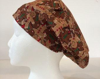 Gingerbread Style Scrub Cap - European Surgical Cap-Scrub Hat- Surgical Cap - Nurses Scrub Cap-European Scrub Hat