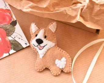 Corgi brooch, animal brooch, dog brooch, felt brooch, felt corgi, corgi ornament, gift for dog lover