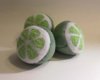 Hand-made Lime Half Catnip Filled Cat Toy