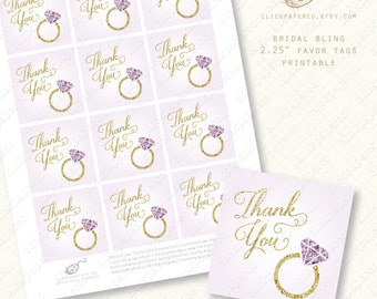 Purple Gem Thank You Tags printable favor tag amethyst bridal shower engagement ring wedding bachelorette party pdf diy instant download