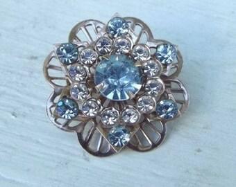 Vintage Silver Tone Blue and Clear Rhinestone Flower Star Pin Brooch