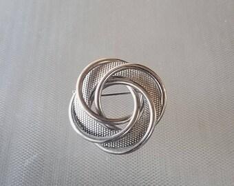 Vintage Silver Tone Swirl Pinwheel Brooch Pin