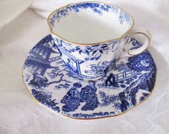 ROYAL CROWN DERBY Mikado blue and white teacup and saucer, Fine China teacup, mint condition