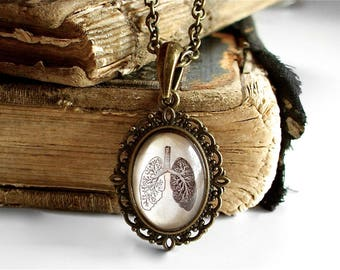 Anatomical Lungs Necklace - Little Antique Anatomy Pendant in Bronze