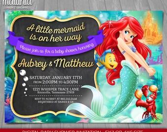 Little mermaid invitation disney ariel invite little little mermaid baby shower invitation disney princess ariel little mermaid baby shower printed invite disney princess ariel lmin04 filmwisefo