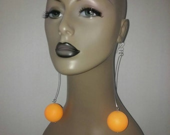 Cute Plastic Orange Ballies Earrings, Womens Earrings, Large Earrings, Womens Jewelry, Long Earrings, Dangling Earrings
