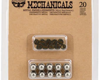 Prima Finnabair MECHANICALS MINI HARDWARE Metal Embellishments - 20 Pcs #963316