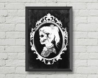 Skull girl,Digital print,vintage,victorian,black and white,creepy,macabre,horror,gothic,art,poster,gift,print,wall decor