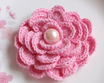 Crochet Flower in 2-3/4 inches In Pink YH-141-06