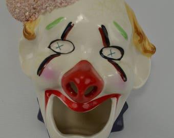 Vintage  Betson Ceramic Clown Face Ash Tray Ash Reciever