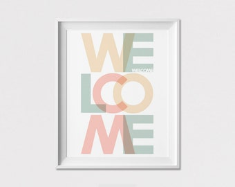 Welcome art print, Wall Art, Quote Print, Welcome poster, Pastel, Gift, minimal print, Wall Decor, Home Decor, ArtFilesVicky