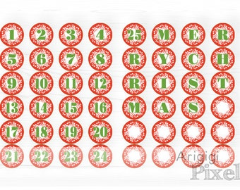 Printable Advent Calendar Numbers 1-25, Letters MERRY CHRISTMAS , Red Holiday Decoration, circle printables advent download