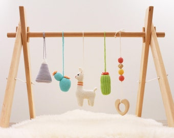 Desert baby play gym. Llama, Blooming cactus, Mountain, Teether wood. Wooden baby gym frame, crochet baby gym toys. Boho