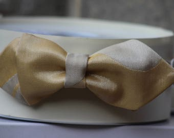 Yellow and beige bow tie