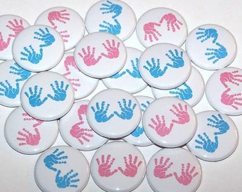 "Baby Hands Handprints Gender Reveal Party Set of 24 Buttons Baby Shower Favor 1"" or 1.5"" or 2.25"" Pin Back Button Pink Blue 1"" Magnets"