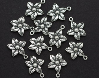 One Sterling Silver Flower Charm Embellishment - F4