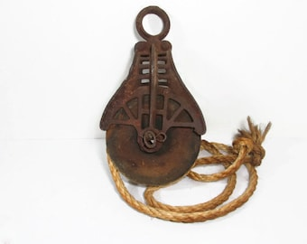 Vintage Pulley Rusty Metal Architectural Salvage Plant Hanger