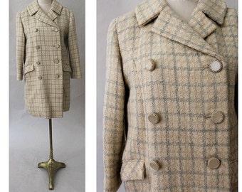 1970 ecru & grey  tweed Coat  double breasted coat medium