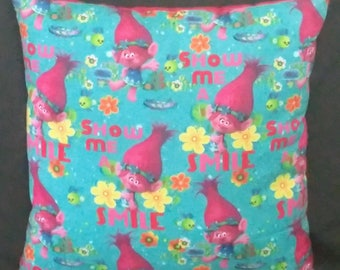 Trolls Pillows Kids Room Decor Bedding Poppy Princess Show Me A Smile Birthday Gift Christmas Office Large Square Pillow Pink Teal Present