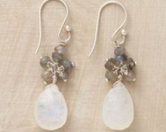 Moonstone and labradorite dangle earrings