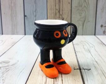 Boo Halloween Espresso Cup, Coppa Italia a mano, a piedi ceramiche, articoli di novità, porcellana nera, Footed piedistallo, tazze sulle gambe, ceramica