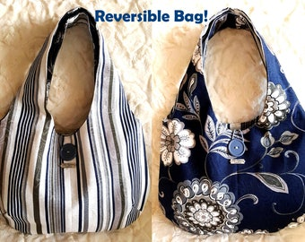 Canvas reversible tote bag, stripes and flowers tote purse, grey and navy hobo bag