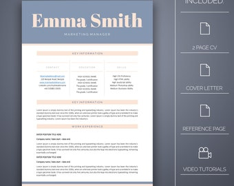 Resume Template 14 - 4 pages, Cover Letter, Microsoft Word, Instant Download, Professional Resume Template, CV Template, CV Template Word