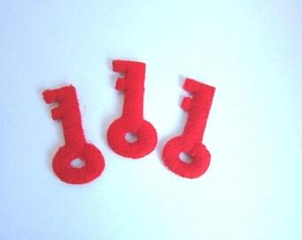 Set of 8 large keys red padded fabric
