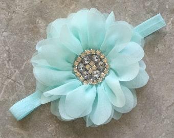 Aqua large headband, Baby Hair Bow, flower headband, baby headbands, lace headband, baby girl headband, hair bows,
