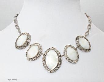 Silver Chain White Sea Shell Necklace / Bib Necklace.