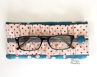 Dark Teal and Salmon Floral soft sunglasses case, glasses pouch, ruffled glasses case, ladies ruffled sunnies, padded glasses case