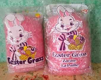 2 Bags of Vintage Pink Easter Grass New in Cellophane Package